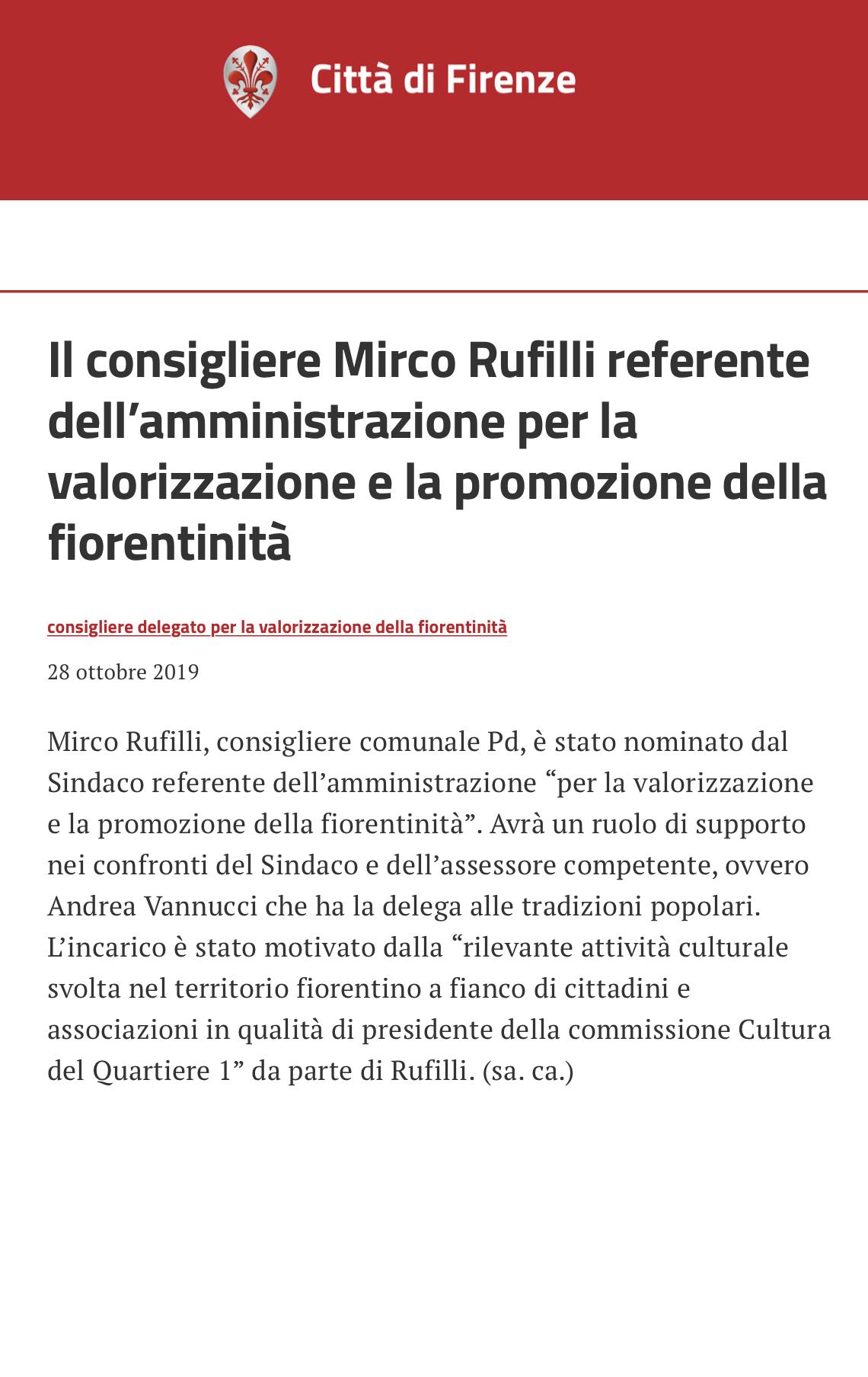 delega fiorentinità Mirco Rufilli