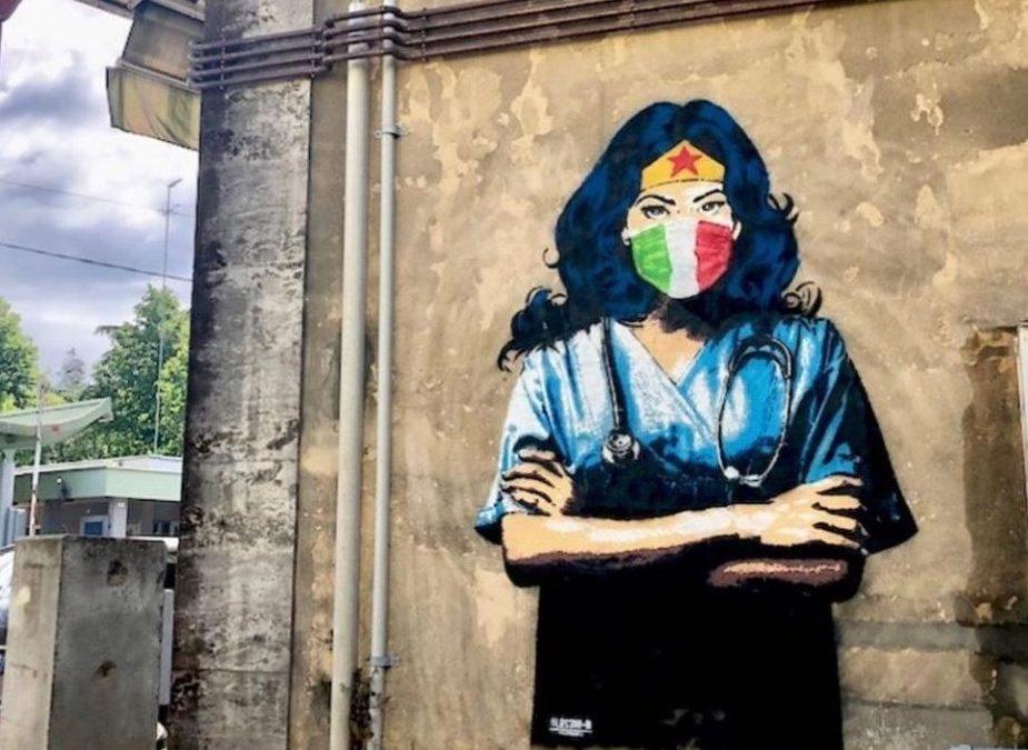 Covid19 murales wonder woman