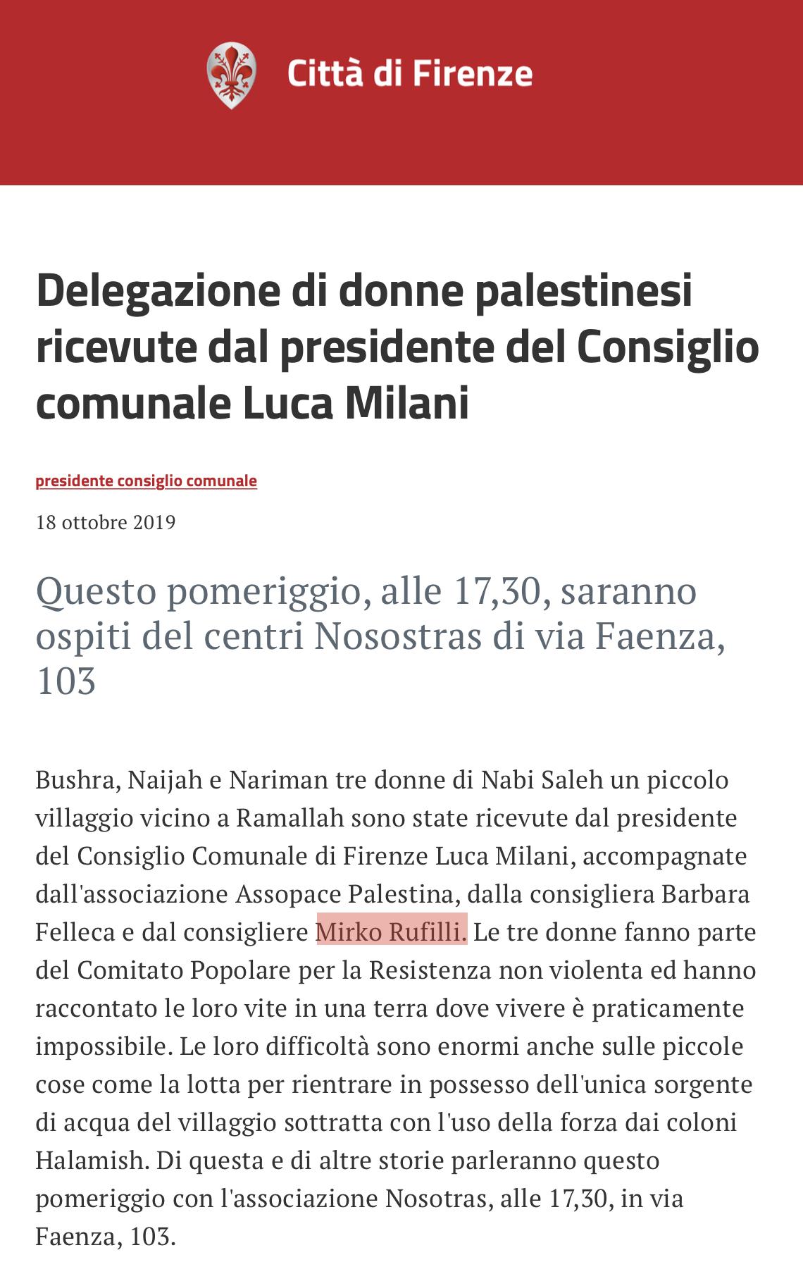 Palestinesi in Palazzo Vecchio