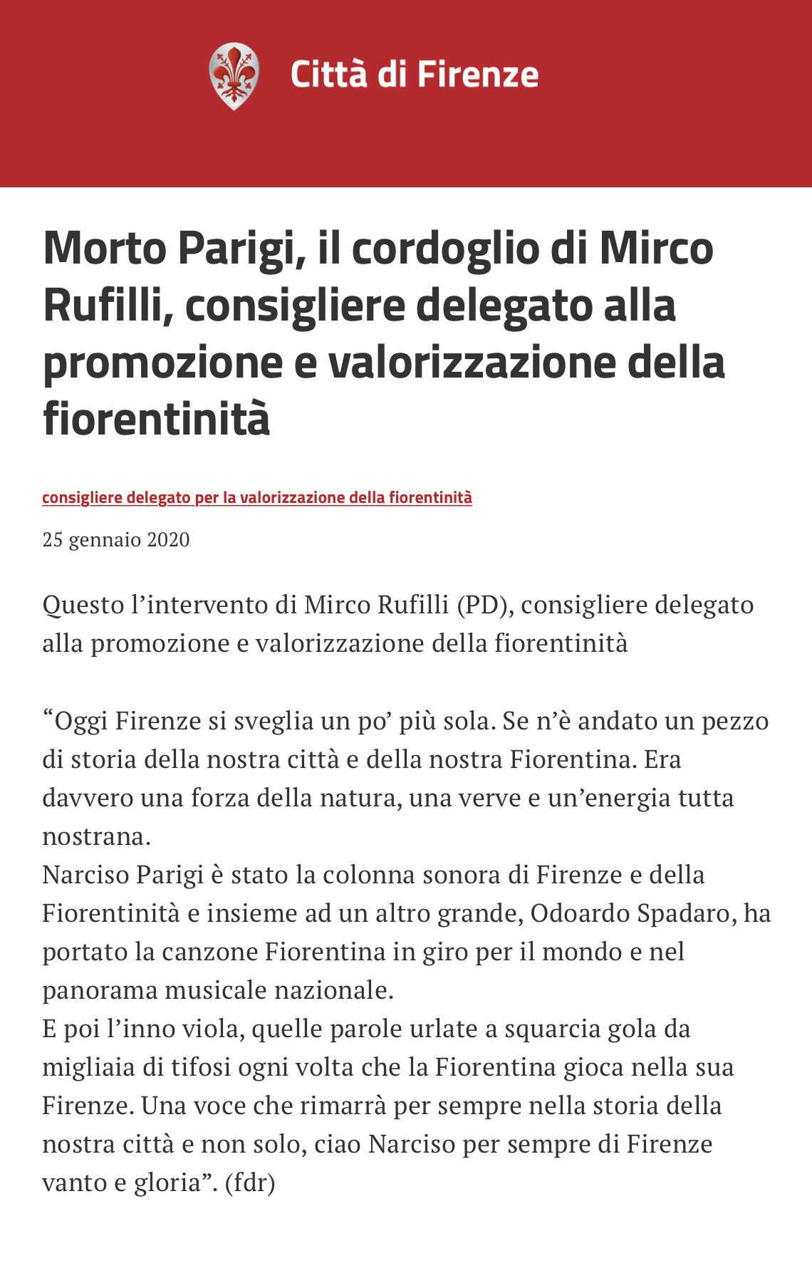 Morte Narciso Parigi Mirco Dinamo Rufilli consiglio comunale