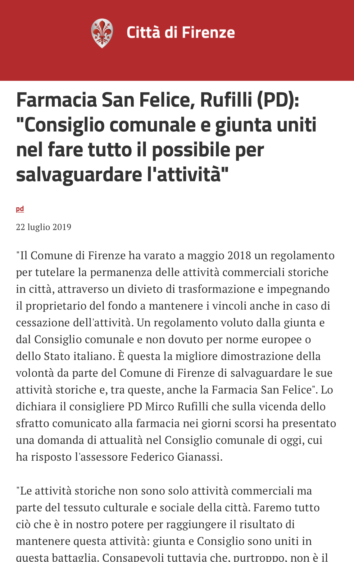 san Felice Farmacia Firenze