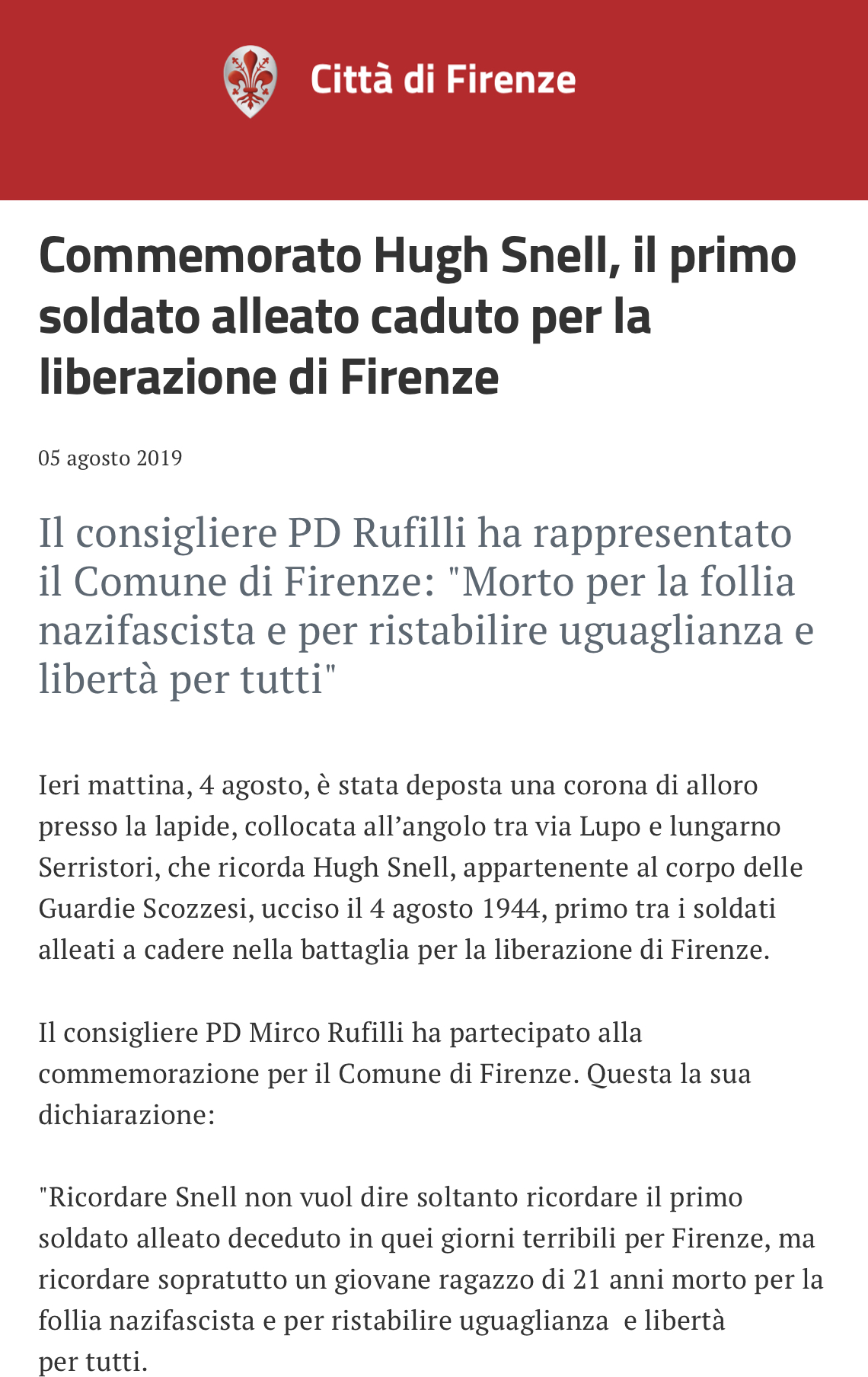 liberazione di Firenze Commemorazione Snell